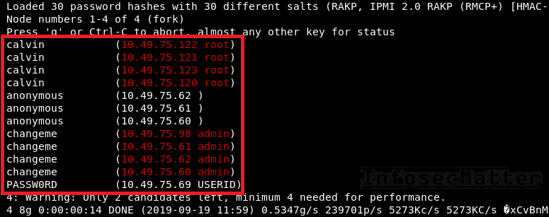 IPMI v2 password hashes cracked with john-the-ripper
