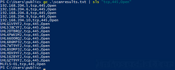 Port scan results - hosts with port tcp/445 open