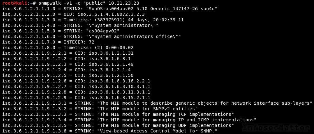 SNMP default community string enumeration using snmpwalk
