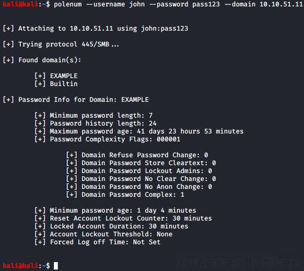 Enumerating Active Directory password policy from Kali Linux using polenum
